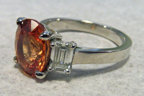 Handmade Platinum Ring - Orange Sapphire and Diamonds