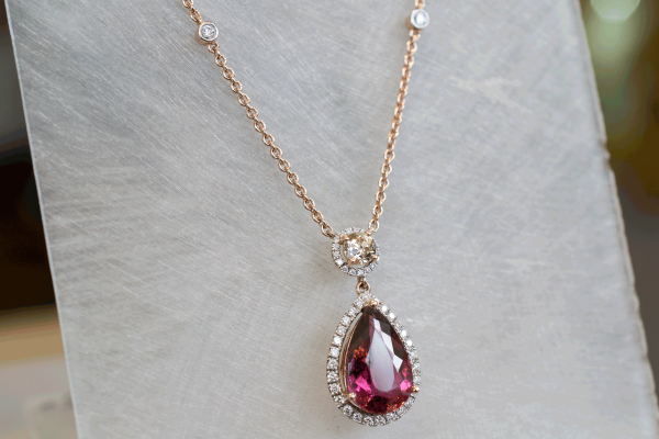 Rose Gold Pink Tourmaline Champagne Diamond Pendant