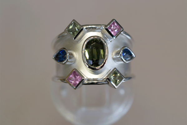 White Gold Bombe Ring with Green Pink & Blue Sapphires