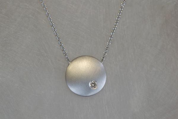 18ct White Gold Diamond Disc Convex Necklace