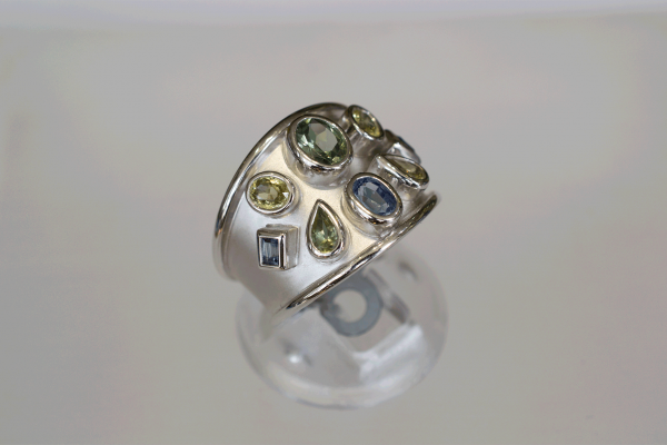 White Gold Ring with Blue Green & Yellow Sapphires