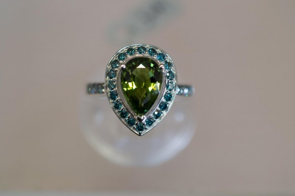 Blue Diamond Pear Shaped Ring with Green Tourmaline