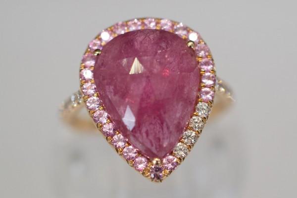 Rose Cut Pink Sapphire & Diamond Gold Ring