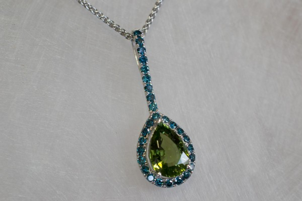 White Gold & Blue Diamond with Green Tourmaline Pearshaped Pendant