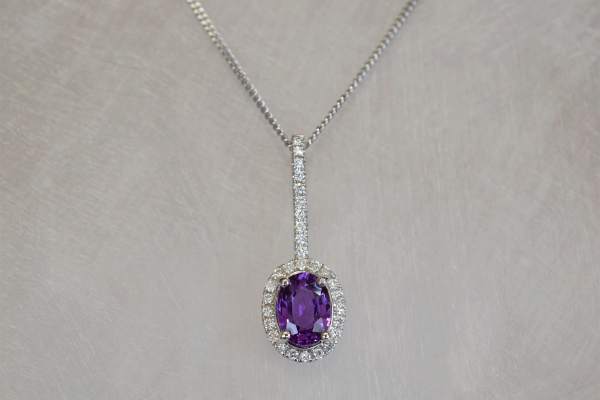 White Gold & Diamond & Purple Sapphire Pendant