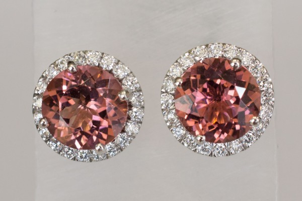 White Gold & Diamond Studs with Peach Tourmaline